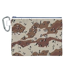 Camouflage Army Disguise Grey Brown Canvas Cosmetic Bag (L)