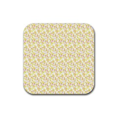 Branch Spring Texture Leaf Fruit Yellow Rubber Coaster (Square)
