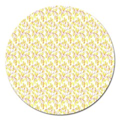 Branch Spring Texture Leaf Fruit Yellow Magnet 5  (round)