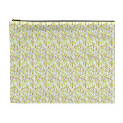 Branch Spring Texture Leaf Fruit Yellow Cosmetic Bag (XL)