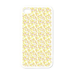 Branch Spring Texture Leaf Fruit Yellow Apple iPhone 4 Case (White)