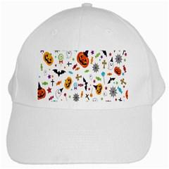 Candy Pumpkins Bat Helloween Star Hat White Cap