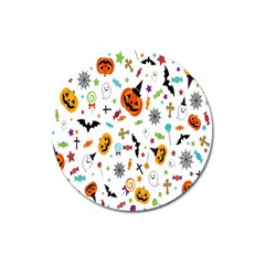 Candy Pumpkins Bat Helloween Star Hat Magnet 3  (round)