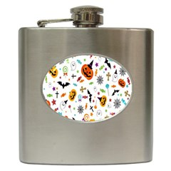Candy Pumpkins Bat Helloween Star Hat Hip Flask (6 oz)