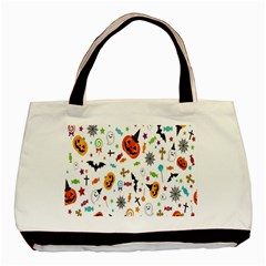 Candy Pumpkins Bat Helloween Star Hat Basic Tote Bag (Two Sides)