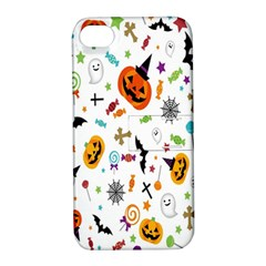Candy Pumpkins Bat Helloween Star Hat Apple Iphone 4/4s Hardshell Case With Stand