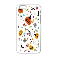 Candy Pumpkins Bat Helloween Star Hat Apple iPhone 6/6S White Enamel Case