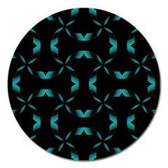 Chevron Blue Wave Magnet 5  (Round)