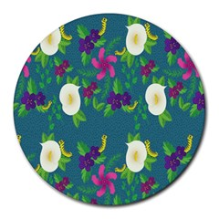 Caterpillar Flower Floral Leaf Rose White Purple Green Yellow Animals Round Mousepads
