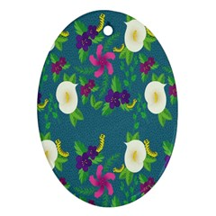 Caterpillar Flower Floral Leaf Rose White Purple Green Yellow Animals Ornament (oval)
