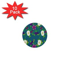 Caterpillar Flower Floral Leaf Rose White Purple Green Yellow Animals 1  Mini Buttons (10 pack)