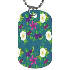 Caterpillar Flower Floral Leaf Rose White Purple Green Yellow Animals Dog Tag (two Sides)