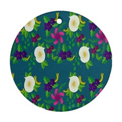 Caterpillar Flower Floral Leaf Rose White Purple Green Yellow Animals Round Ornament (Two Sides)