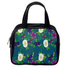Caterpillar Flower Floral Leaf Rose White Purple Green Yellow Animals Classic Handbags (One Side)