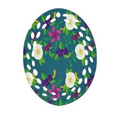 Caterpillar Flower Floral Leaf Rose White Purple Green Yellow Animals Ornament (Oval Filigree)