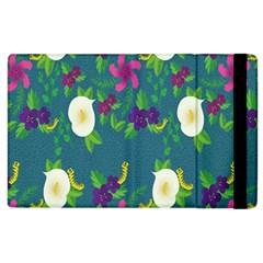 Caterpillar Flower Floral Leaf Rose White Purple Green Yellow Animals Apple iPad 2 Flip Case