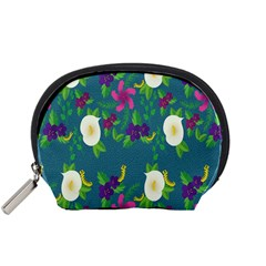 Caterpillar Flower Floral Leaf Rose White Purple Green Yellow Animals Accessory Pouches (Small)