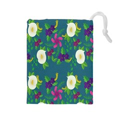 Caterpillar Flower Floral Leaf Rose White Purple Green Yellow Animals Drawstring Pouches (Large)