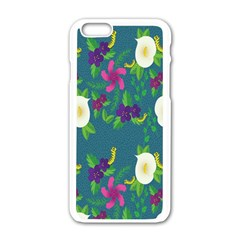 Caterpillar Flower Floral Leaf Rose White Purple Green Yellow Animals Apple iPhone 6/6S White Enamel Case