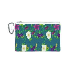 Caterpillar Flower Floral Leaf Rose White Purple Green Yellow Animals Canvas Cosmetic Bag (S)