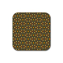 Caleidoskope Star Glass Flower Floral Color Gold Rubber Square Coaster (4 pack)
