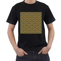 Caleidoskope Star Glass Flower Floral Color Gold Men s T-Shirt (Black) (Two Sided)