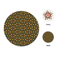 Caleidoskope Star Glass Flower Floral Color Gold Playing Cards (round)