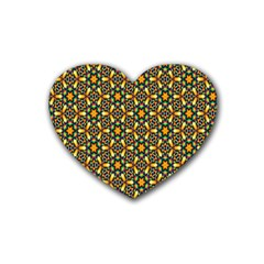 Caleidoskope Star Glass Flower Floral Color Gold Heart Coaster (4 pack)