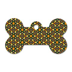 Caleidoskope Star Glass Flower Floral Color Gold Dog Tag Bone (two Sides)