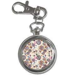 Flower Arrangements Season Floral Purple Love Heart Key Chain Watches