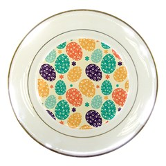 Egg Flower Floral Circle Orange Purple Blue Porcelain Plates
