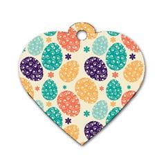 Egg Flower Floral Circle Orange Purple Blue Dog Tag Heart (One Side)