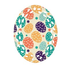 Egg Flower Floral Circle Orange Purple Blue Ornament (oval Filigree)