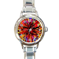 Color Batik Explosion Colorful Round Italian Charm Watch