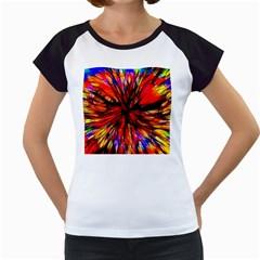 Color Batik Explosion Colorful Women s Cap Sleeve T