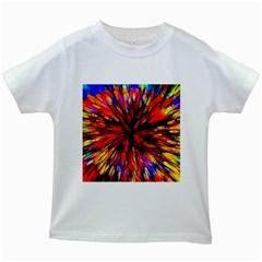 Color Batik Explosion Colorful Kids White T Shirts