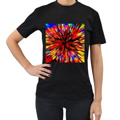 Color Batik Explosion Colorful Women s T Shirt (black) (two Sided)