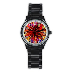 Color Batik Explosion Colorful Stainless Steel Round Watch