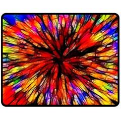 Color Batik Explosion Colorful Double Sided Fleece Blanket (medium)