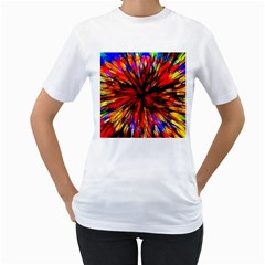 Color Batik Explosion Colorful Women s T Shirt (white)