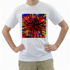 Color Batik Explosion Colorful Men s T Shirt (white)