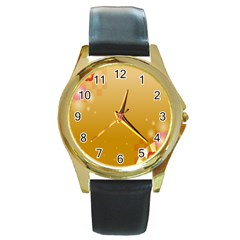 Flower Arrangements Season Floral Orange Round Gold Metal Watch