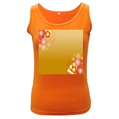 Flower Arrangements Season Floral Orange Women s Dark Tank Top