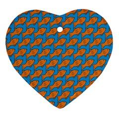 Fish Sea Beach Swim Orange Blue Ornament (Heart)