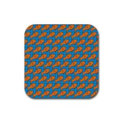 Fish Sea Beach Swim Orange Blue Rubber Coaster (Square)