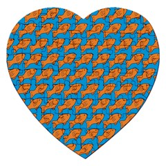 Fish Sea Beach Swim Orange Blue Jigsaw Puzzle (Heart)