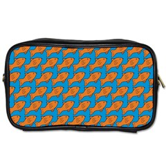 Fish Sea Beach Swim Orange Blue Toiletries Bags