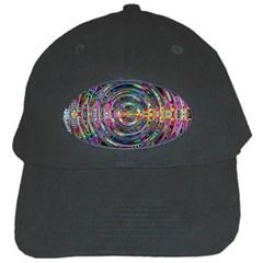 Wave Line Colorful Brush Particles Black Cap