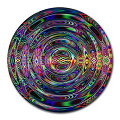 Wave Line Colorful Brush Particles Round Mousepads