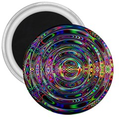 Wave Line Colorful Brush Particles 3  Magnets